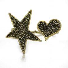 "Bague fantaisie ""Heart Star"" en métal doré vieilli"