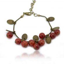 "Bracelet ""Groseilles"" en métal bronze et perles"