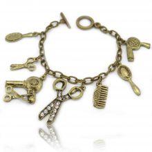 "Bracelet ""Hairdress"" en métal bronze et strass"
