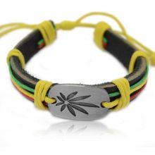 "Bracelet ""Kana"" en inox brossé et cuir"