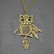 """Collier fantaisie """"Grand Duc désarticulé"""" en métal doré et résine"""