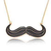"""Collier fantaisie """"Moustache"""" en métal doré et émail"""