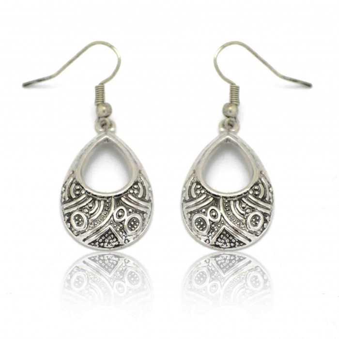 """Boucles d'oreilles """"Inca"""" en métal argenté"""