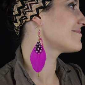 """Boucles d'oreilles fantaisie """"Plume - Pink Element"""""""