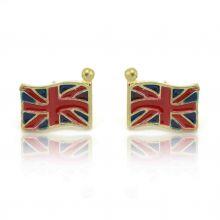 """Boucles d'oreilles fantaisie """"English Flag"""" en métal doré et émail"""