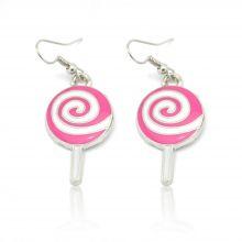 """Boucles d'oreilles """"Lollipop"""" en métal argenté et émail"""
