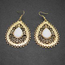 """Boucles d'oreilles orientale """"Oranaise"""" en métal doré et résine"""