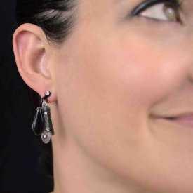 """Boucles d'oreilles """"Ikita - Lagune"""" en métal argenté, strass et émail"""