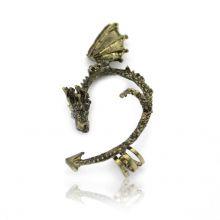 """Boucle tour d'oreilles """"Dragon"""" en métal doré vieilli"""