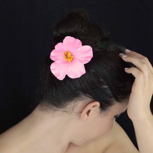 mini pince cheveux hibiscus en polym re. Black Bedroom Furniture Sets. Home Design Ideas