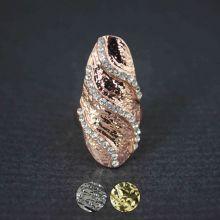 """Bague d'ongle """"Smart"""" en métal cuivrée et strass"""