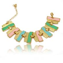"""Bracelet """"Stries Colorées"""" en métal et émail"""