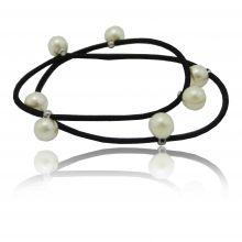 """Elastique à cheveux ou bracelet """"Perlé"""" en élastique et perles"""