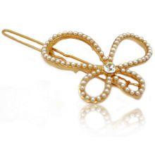 """Barrette """"Papillon perlé"""" en métal doré et perles"""
