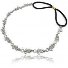 """Headband """"Sylphe"""" en métal argenté et strass"""