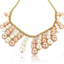 "Collier fantaisie ""Pearl Cascada"" en métal doré et perles de synthèse"