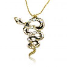 "Collier ""Big Snake"" en métal doré, émail et strass"