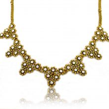 "Collier fantaisie ""Strass Triangles"" en métal doré et strass"