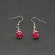 """Boucles d'oreilles """"Perle rouge"""" zirconium"""