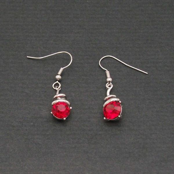 boucles d 39 oreilles perle rouge zirconium. Black Bedroom Furniture Sets. Home Design Ideas