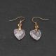 """Boucles d'oreilles """"Coeurs de cristal"""" en métal doré et zirconium"""