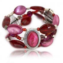 """Bracelet élastiqué """"Ikita - Duchesse"""" en métal argenté et perles de verre"""