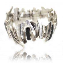 """Bracelet fantaisie élastiqué """"Ikita - Gneiss"""" en métal argenté"""
