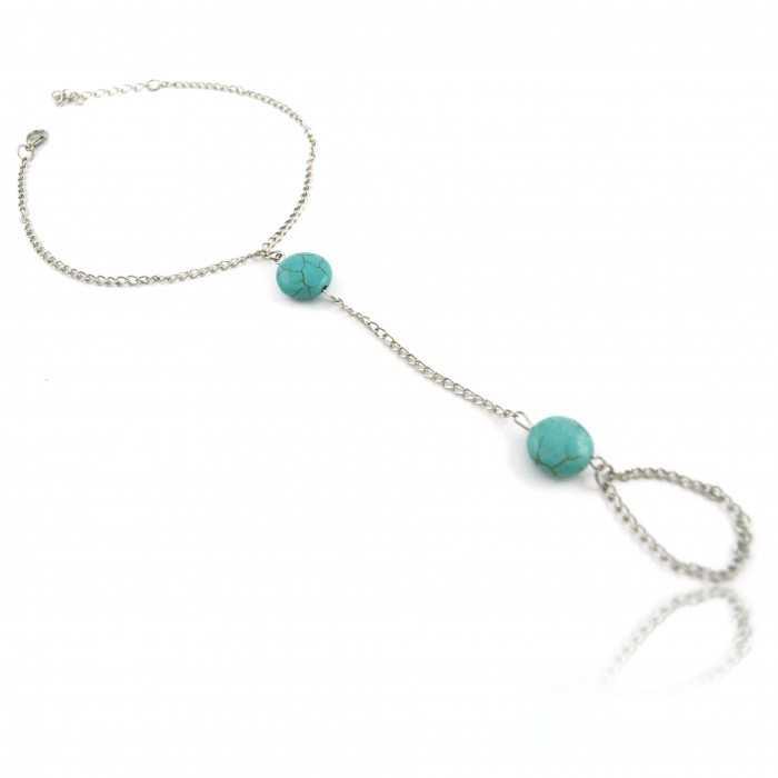 """Bracelet de cheville """"Indian Connection"""" en métal argenté et turquoise"""