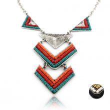 """Collier """"Quetzalcoatl"""" en métal argenté et perles de rocaille"""