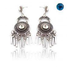 """Boucles d'oreilles orientales """"Sabbah"""" en métal argenté et strass"""