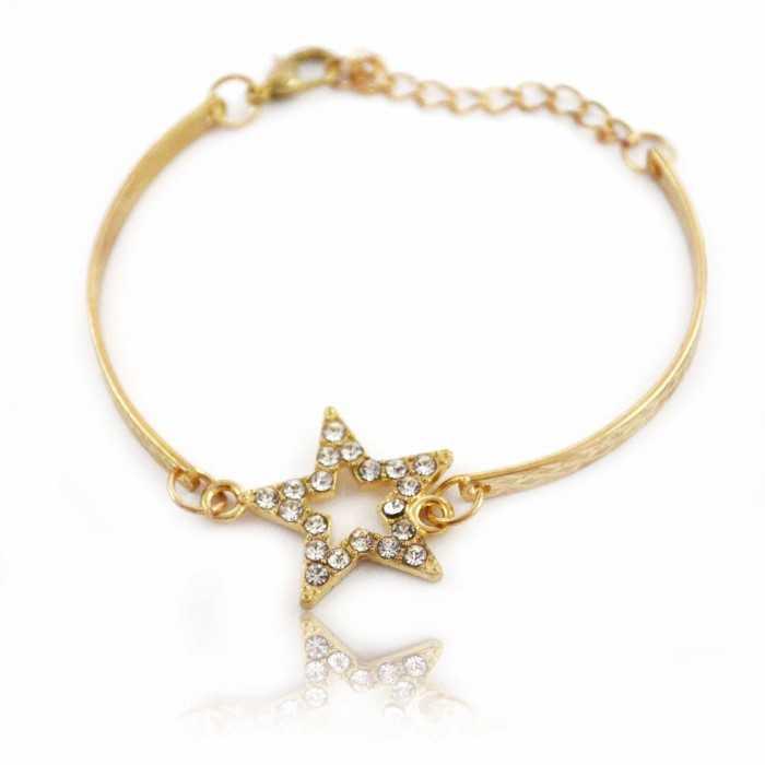 "Barcelet ""Little Star"" en métal doré et strass"