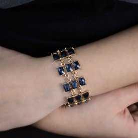 """Bracelet """"Railroad"""" en métal doré et résine"""