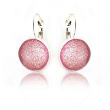 """Boucles d'oreilles """"Glitter - Coral"""" en métal argenté et cabochon"""