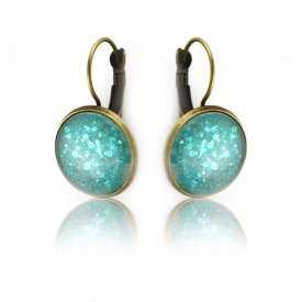 """Boucles d'oreilles """"Glitter - Aquatic"""" en métal doré vieilli et cabochon"""