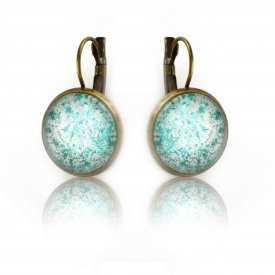 """Boucles d'oreilles """"Glitter - Summer Turquoise"""" en métal doré vieilli et cabochon"""
