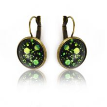 """Boucles d'oreilles """"Glitter - Enchanted Forest"""" en métal doré vieilli et cabochon"""