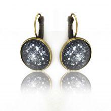 """Boucles d'oreilles """"Glitter - Lunaire"""" en métal doré vieilli et cabochon"""
