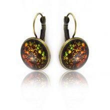 """Boucles d'oreilles """"Glitter - Dragonne"""" en métal doré vieilli et cabochon à reflets"""