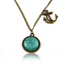 """Collier """"Glitter - Aquatic"""" en métal doré vieilli et cabochon"""