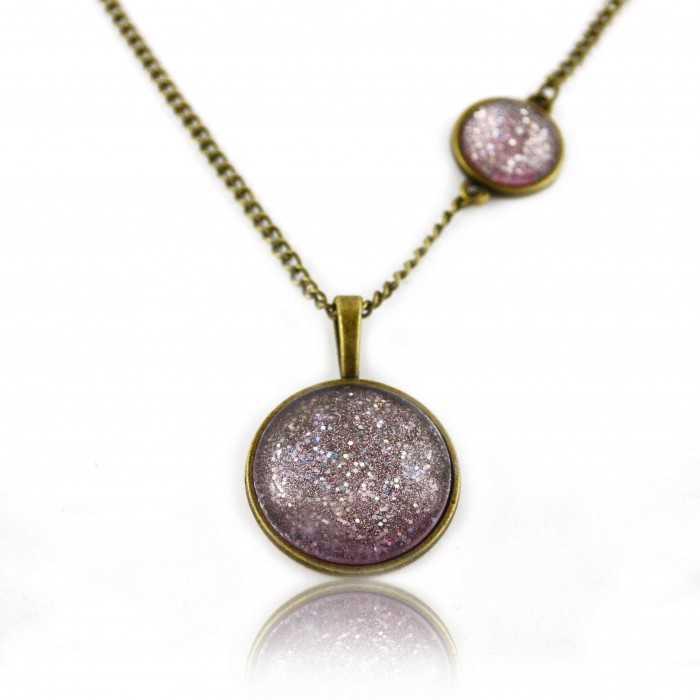 """Collier """"Glitter - Fairy"""" en métal doré vieilli et cabochon"""
