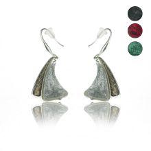 """Boucles d'oreilles """"Ikita - Envolée"""" en métal argenté, résine et émail"""