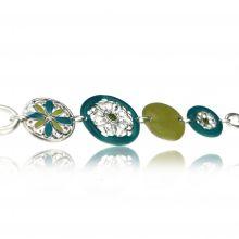 """Bracelet """"Ikita - Népal"""" en métal argenté et émail"""