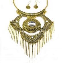 """Parure """"Tribal Style - Melpomène"""" en métal doré vieilli et strass"""