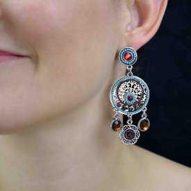 """Boucles d'oreilles """"Tribal Style - Colors"""" en métal argenté, strass et mini perles"""