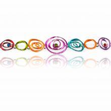 """Bracelet """"Ikita - Spirales"""" en métal argenté, émail et strass"""
