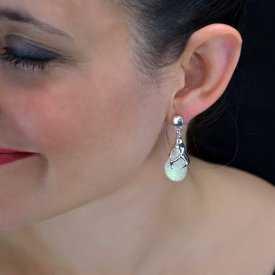 "Boucles d'oreilles ""Ikita - Glaçon"" en métal et émail"