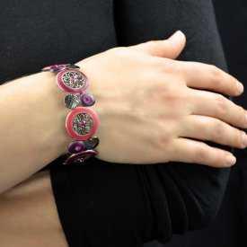 """Bracelet """"Ikita - Hindi"""" en métal argenté, émail et strass"""