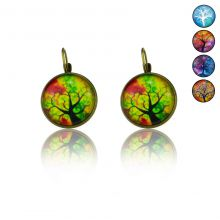 """Boucles d'oreilles """"Sweet nature - Tree"""" en métal bronze et cabochon de verre"""