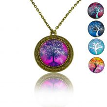 "Collier""Sweet nature - Tree"" en métal bronze et cabochon de verre"