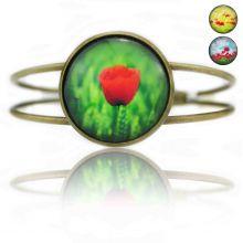 """Bracelet """"Sweet nature - Poppy"""" en métal bronze et cabochon de verre"""